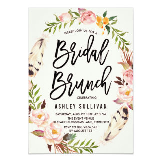 Bohemian Feathers and Floral Wreath Bridal Brunch 13 Cm X 18 Cm Invitation Card