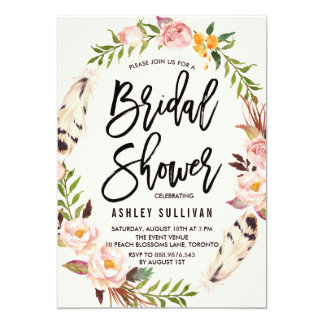 Bohemian Feathers and Floral Wreath Bridal Shower 13 Cm X 18 Cm Invitation Card
