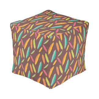 Bohemian feathers Cubed Pouf