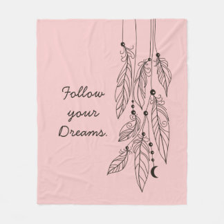 "Bohemian Feathers Drawing ""Rose Quartz"" Background Fleece Blanket"