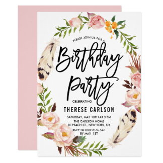 Bohemian Feathers & Floral Wreath Birthday Party Card