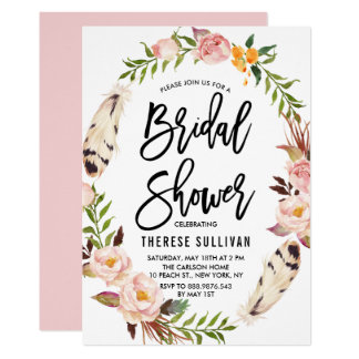 Bohemian Feathers & Floral Wreath Bridal Shower Card