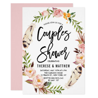 Bohemian Feathers & Floral Wreath Couples Shower Card