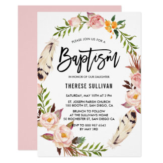 Bohemian Feathers & Floral Wreath Pink Baptism Card