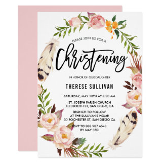 Bohemian Feathers & Floral Wreath Pink Christening Card