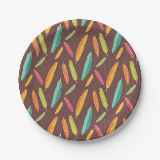Bohemian feathers Paper Plates