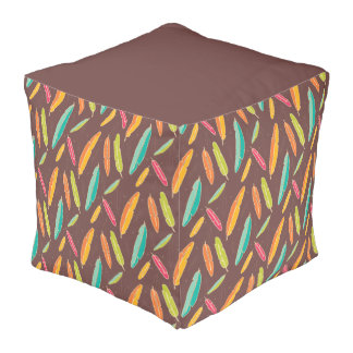 Bohemian feathers Polyester Cubed Pouf