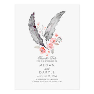 Bohemian Feathers Rustic Save the Date Postcard