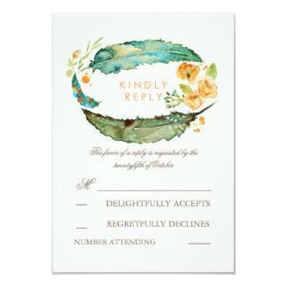 Bohemian Feathers Teal Wedding RSVP Cards 9 Cm X 13 Cm Invitation Card