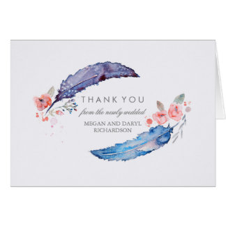 Bohemian Feathers Tribal Style Wedding Thank You Card