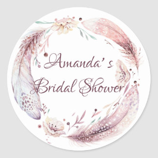 Bohemian Feathers Wreath Bridal Shower Classic Round Sticker