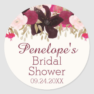 Bohemian Floral Bridal Shower Favor Label Sticker