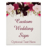 Bohemian Floral Cards & Gifts Custom Wedding Sign