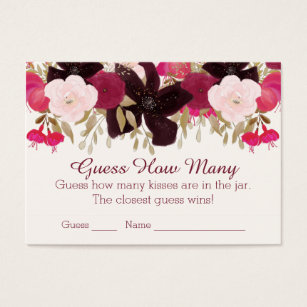 Bohemian Floral Guess How Many Kisses Game Cards