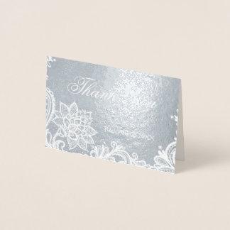 Bohemian Floral Lace Wedding Thank You Foil Card