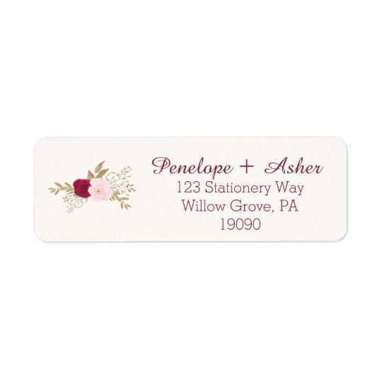 Bohemian Floral Wedding Return Address Labels