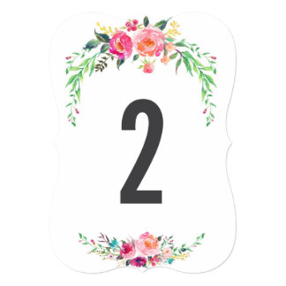 BOHEMIAN FLORAL wedding table number Card