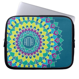 Bohemian Flower with Monograms Laptop Sleeve