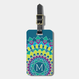 Bohemian Flower with Monograms Luggage Tag