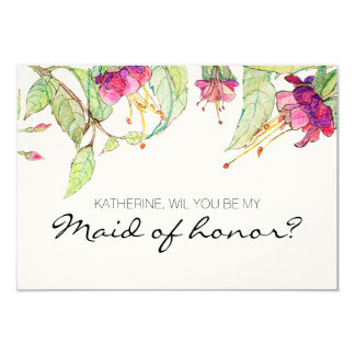 Bohemian Garden | will you be my maid of honor? 9 Cm X 13 Cm Invitation Card