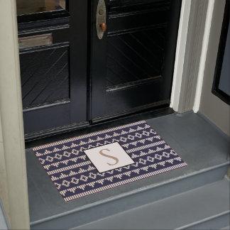 Bohemian Geometric Cream & Navy | Monogram Doormat