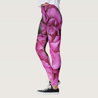 Bohemian Glam Pink Peony Floral Print Leggings