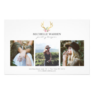Bohemian Gold Antlers Jewelry Boutique Photo Flyer