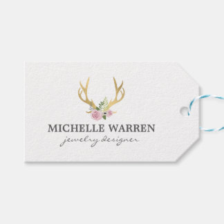 Bohemian Gold Antlers with Flowers Gift Tags