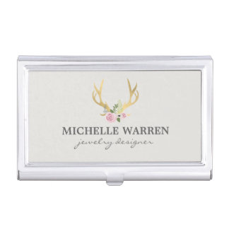 Bohemian Gold Antlers with Flowers II Personalized Business Card Holder