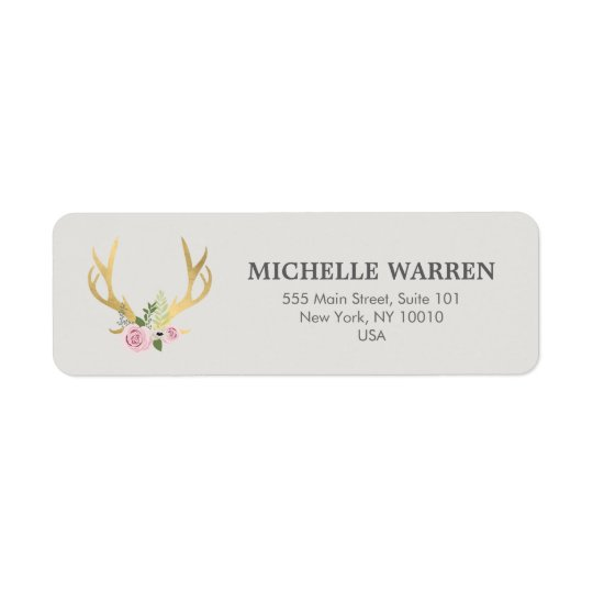 Bohemian Gold Antlers with Flowers II Return Address Label
