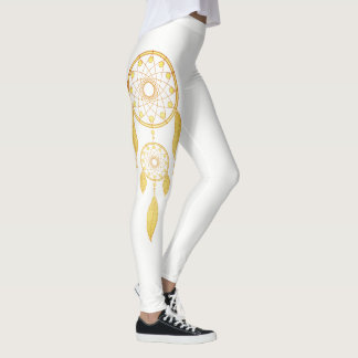Bohemian Golden Feather Dream Catcher Leggings