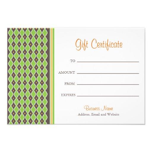 Bohemian Green Gift Certificate Invitations