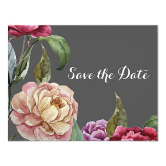 Bohemian Grey & Purple Floral Save the Date Cards
