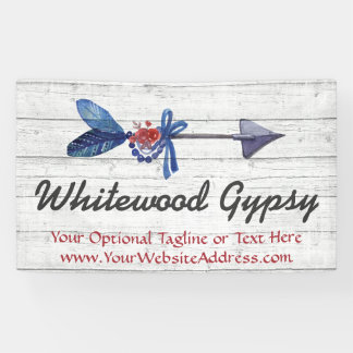 Bohemian Gypsy Arrow Feather & Beads Rustic Wood Banner