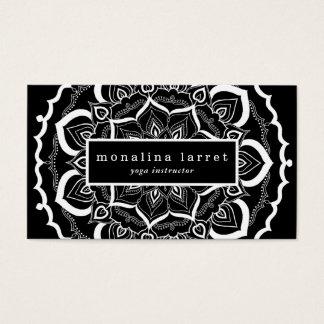 Bohemian Hand Drawn Mandala Black White Business Card
