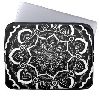 Bohemian Hand Drawn Mandala Black White Laptop Sleeve