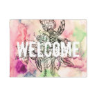 Bohemian handdrawn abstract watercolor paint doormat