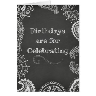 Bohemian Henna Chalkboard Birthday Card