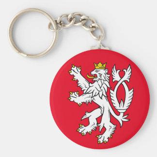 Bohemian heraldic lion basic round button key ring