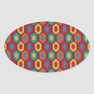 Bohemian Ikat Oval Sticker