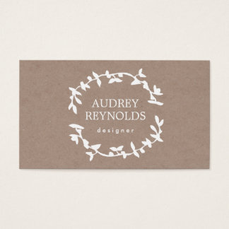BOHEMIAN LEAF WREATH LOGO Tan Kraft Paper Effect Business Card