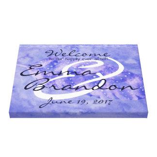 Bohemian Love Watercolor Feather Wedding Purple Canvas Print