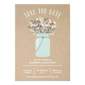 "Bohemian Mason Jar   Save the Date Announcement 5"" X 7"" Invitation Card"