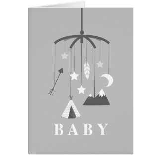 Bohemian Mobile Neutral Baby Shower - Gray Card