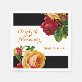 Bohemian Modern Red and Yellow Roses Wedding Disposable Napkin