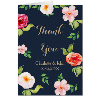 bohemian navy gold modern floral wedding Thank You Greeting Card