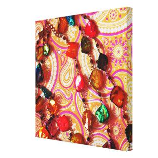 Bohemian Necklace Gemstone Paisley Canvas Print