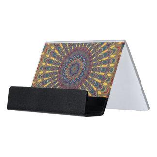 Bohemian oval mandala desk business card holder