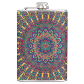 Bohemian oval mandala hip flask