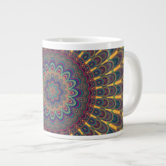 Bohemian oval mandala large coffee mug